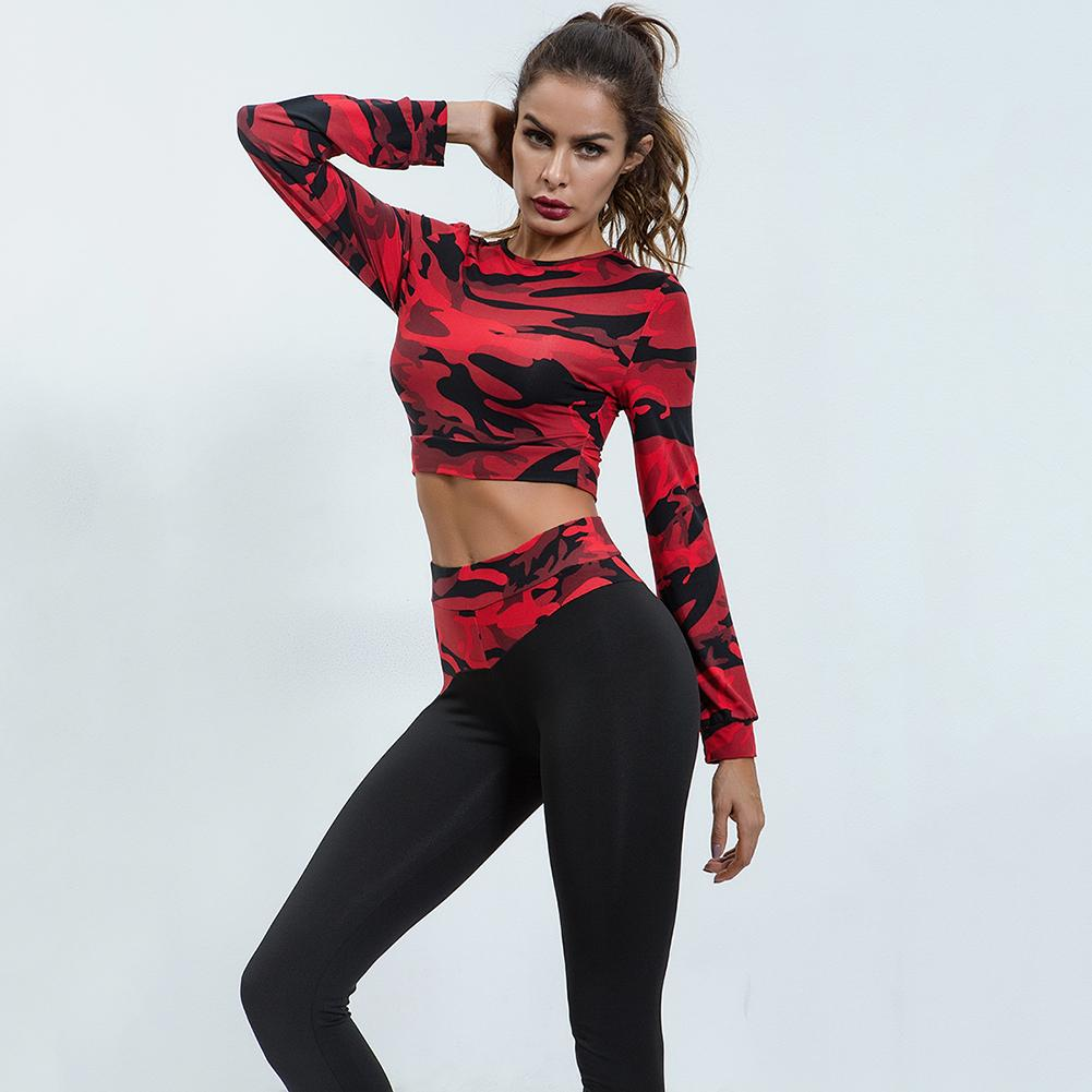2PCS Women Autumn&Winter Long Sleeve Yoga Fitness Sport Suits Camouflage Print Slim High Elastic Tight Running Sports Suits2PCS Women Autumn&Winter Long Sleeve Yoga Fitness Sport Suits Camouflage Print Slim High Elastic Tight Running Sports Suits