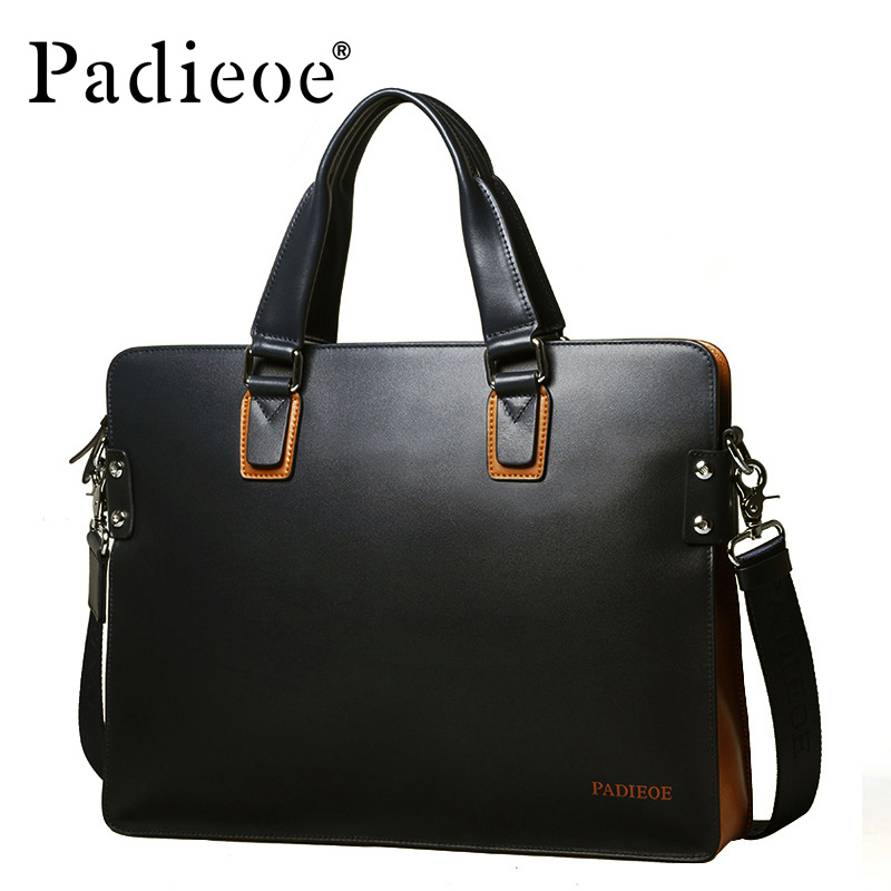 Padieoe Fashion Casual Men's Shoulder bag Luxury Genuine Leather Business Men Messenger Bags High Quality Durable male Handbag