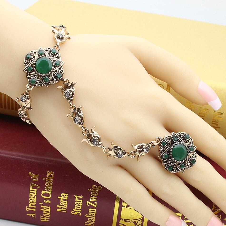 New Turkish Jewelry Sets For Women Ring&Bracelet Antique Gold Color Resin Bracelet Adjustable Size Ring Ethnic Hand Back Bijoux