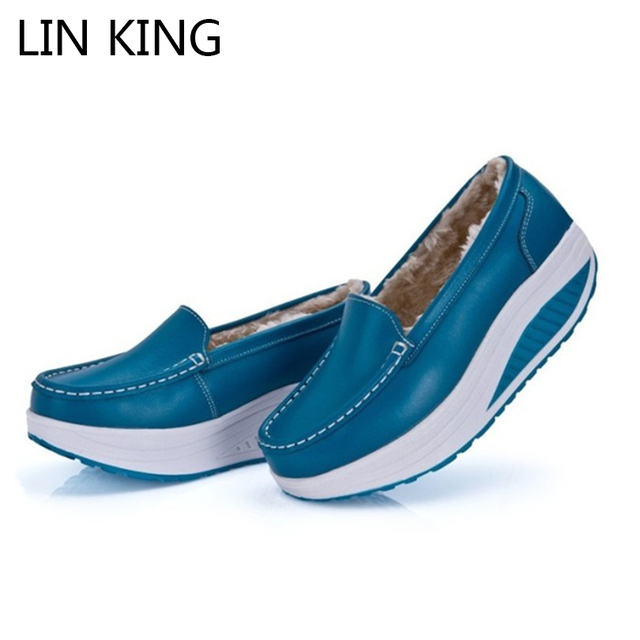 LIN KING New Wedge Heels Women Winter Swing Shoes Shalllow Mouth Slip On Leather Platform Comfortable Outdoor Walking Shoes