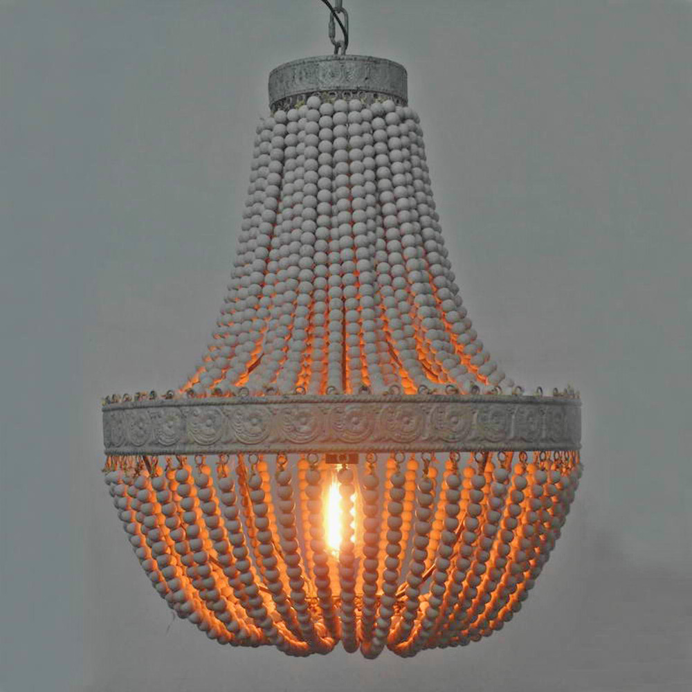 Antique Retro loft vintage rustic round wooden beads pendant lamp with led for hotel living room bar cafe shop E27 lamps lights vintage loft industrial edison flower glass ceiling lamp droplight pendant hotel hallway store club cafe beside coffee shop
