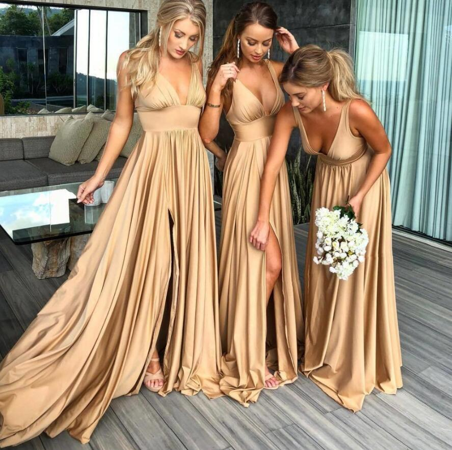 Robe Demoiselle D'honneur Sexy Slit  Gold Bridemaid Dresses Long 2019 Spandex V Neck Formal Prom Party Gown