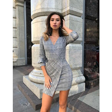 V neck plaid pleated one piece dress vintage flare bell sleeve sheath ladies sexy party dresses vestidos