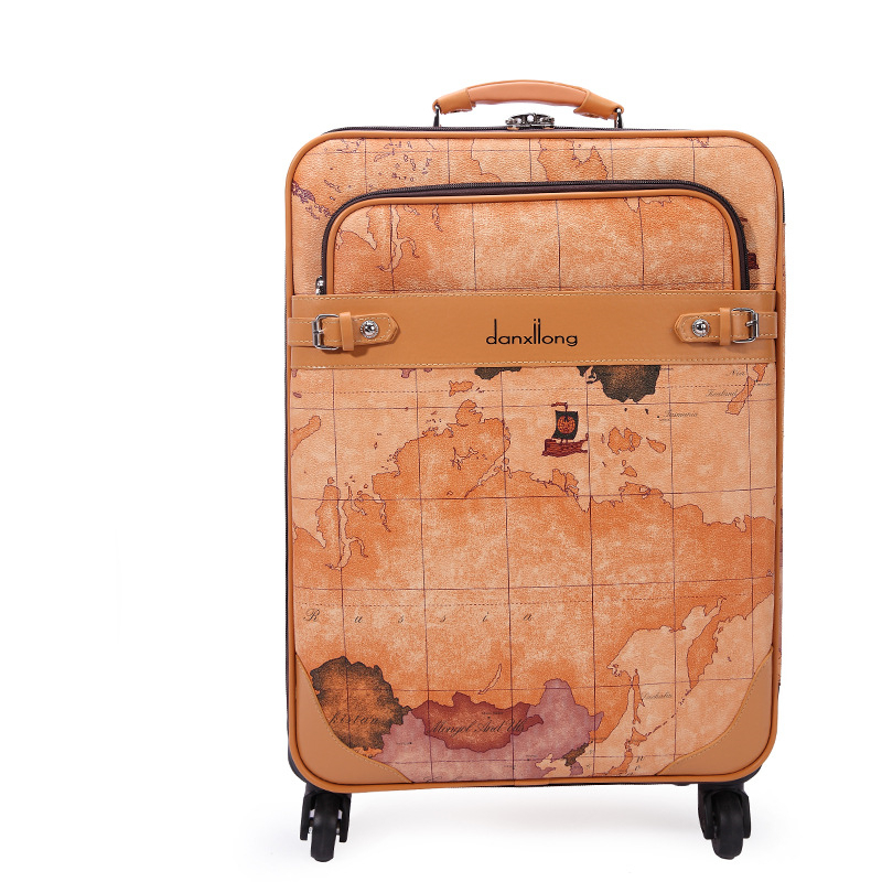 World Map vintage trolley luggage male universal commercial wheels luggage travel bag suitcase female16 18 20 22 24 luggage sets