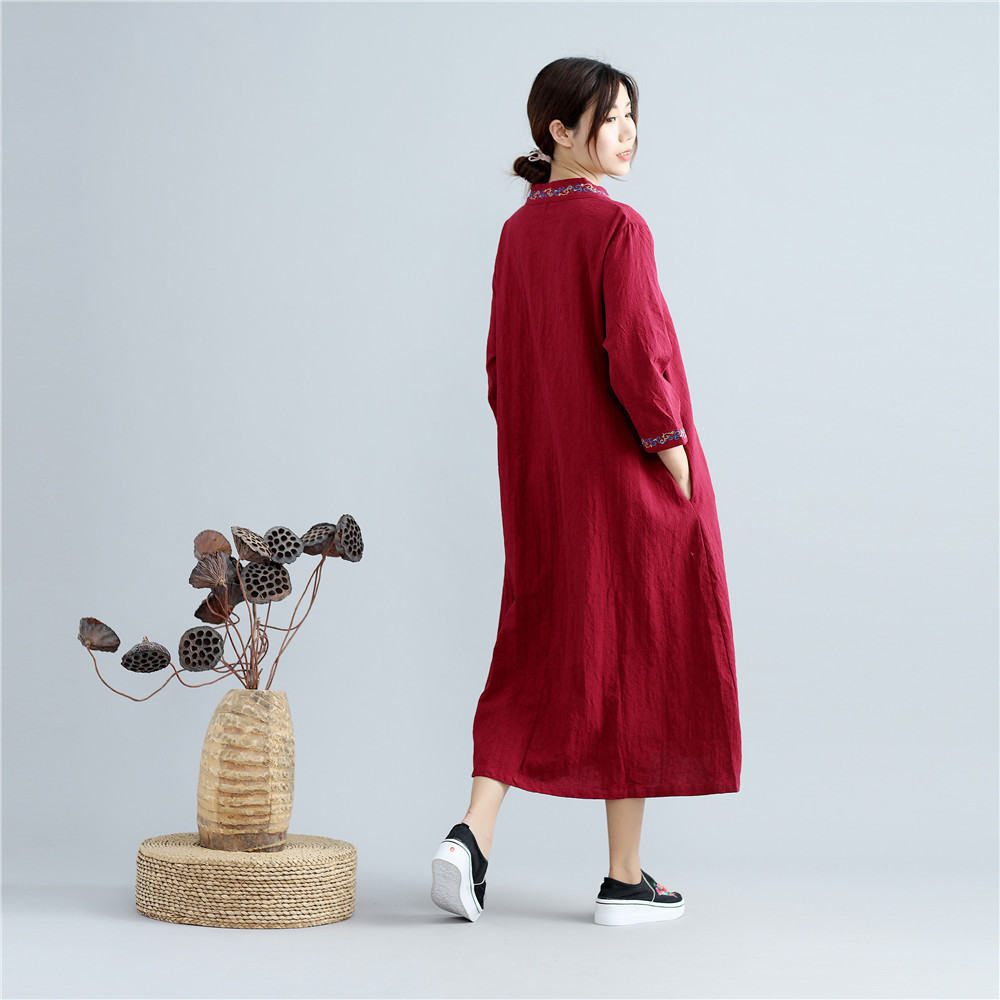 Longues Robes Chinois À Style Courtes Occasionnel Lâche Manches Brève Nouvelle 02 2017 01 Broderie Mode G061302 Coton Linge D'été Femmes TPkiuXZO