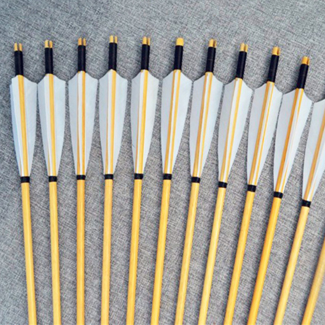 6/12/24pcs Natural Wooden Arrows 30inch with White Turkey Feather and Iron Arrowhead for 25-50lbs Bows for Archery Shooting H 1