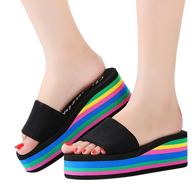 3fe7e6b9859d32 Slippers Women Casual Rainbow Summer Non Slip Sandals Female Beach Slippers  Fashion New Hot Sale Female Ladies High Shoes-in Slippers from Shoes on ...