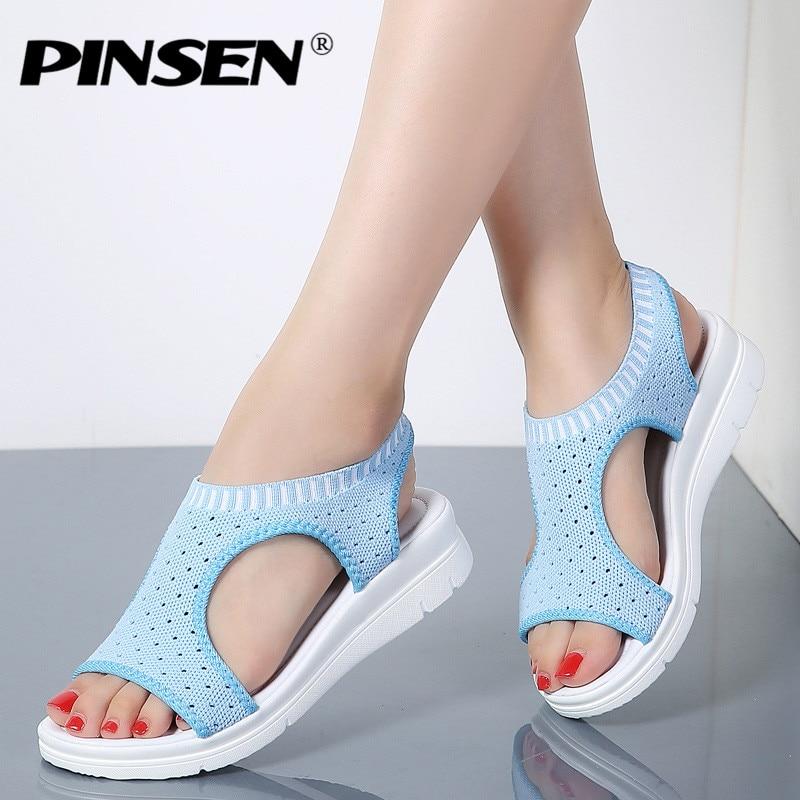 PINSEN 2018 Sandals Women Summer Shoes Breathable Female Shoes Ladies Slip On Flat Platform Sandals Shoes Woman Sandalias цена