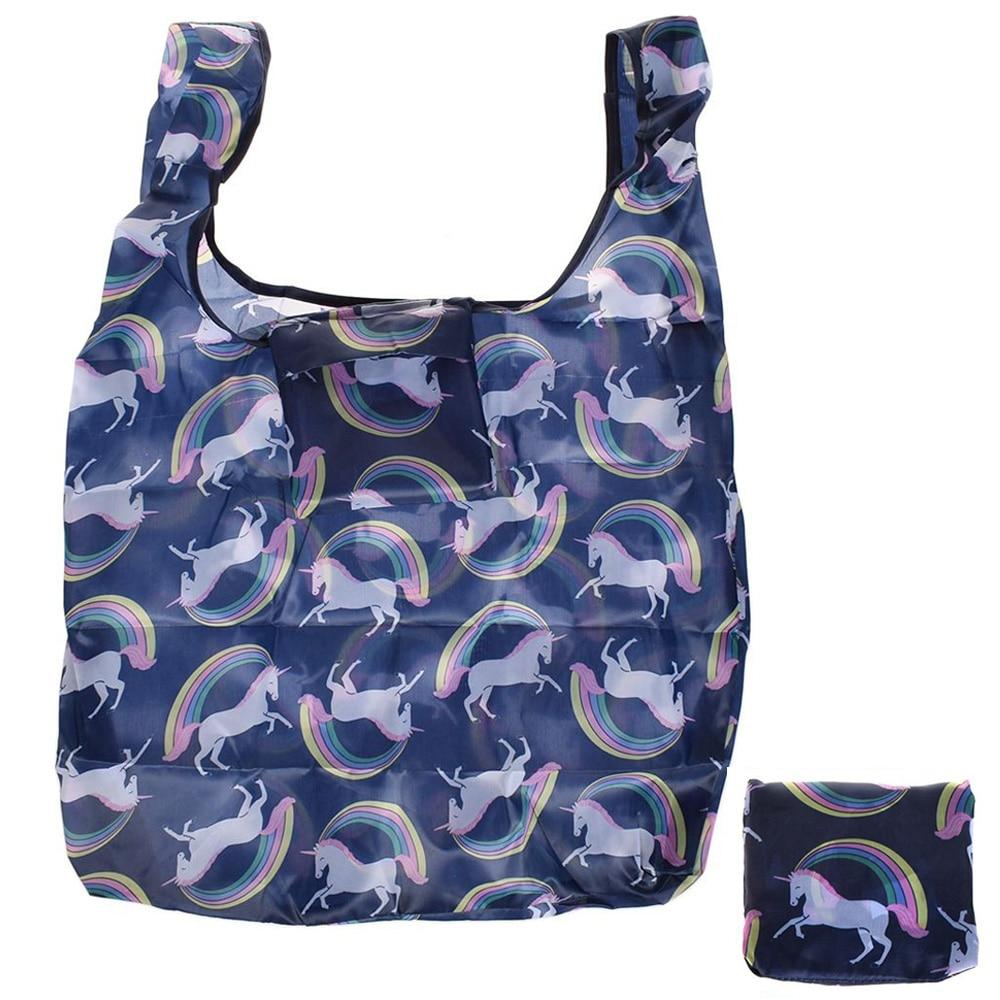 купить Fashion Unicorn printing foldable eco-friendly shopping bag Tote Folding pouch handbags Convenient Large-capacity storage bags по цене 76.84 рублей