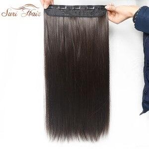 Extensiones de Cabello sintético liso Suri, extensiones de cabello para mujer, 5 Clips, disponible en 6 colores, 24 pulgadas