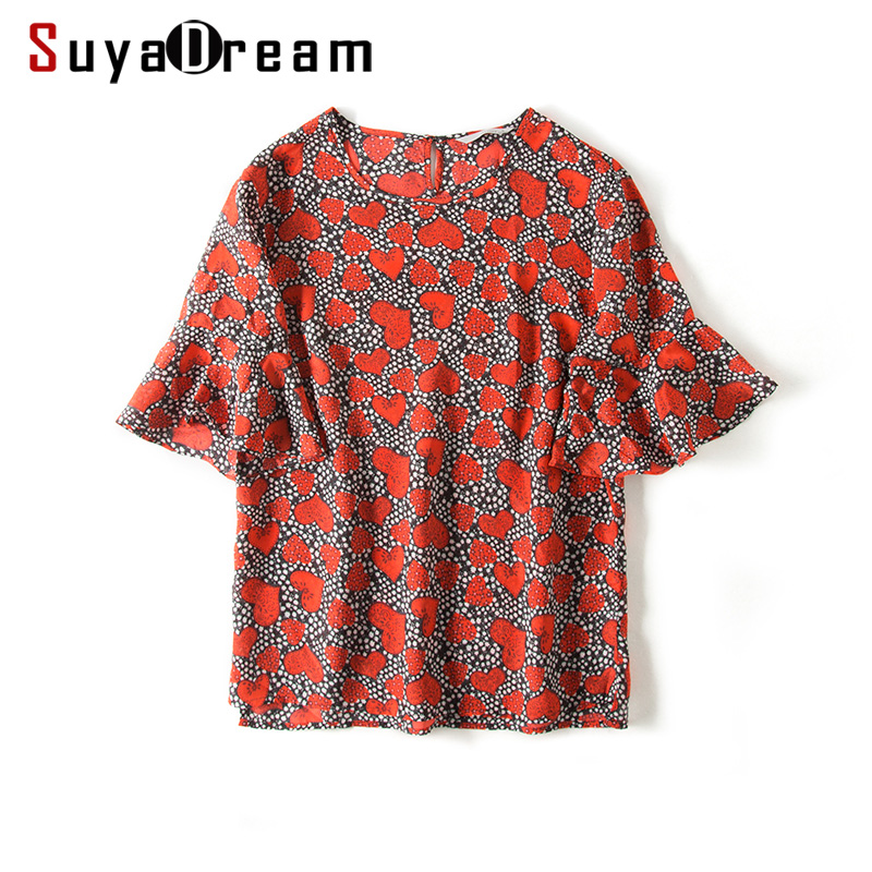 Women Silk Blouse 100% REAL SILK CREPE Print Blouses for Women half Sleeved Loose Flare Sleeved Blouse Shirt 2019 Spring Top