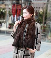 Black/Coffee Autumn Winter Neck Warmer Mink Fur Scarf Women's Long Scarf Hand Knitted Luxury Real Mink Fur Shawls And Wraps