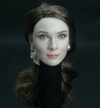 1/6 Audrey Hepburn Head Carving With long brown Long curly Hair Female head Model F 12 pale Figure body
