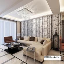 Q QIHANG 10m Modern Minimalist Tree Pattern Non-woven Wallpaper Roll Black&white 5.3m2