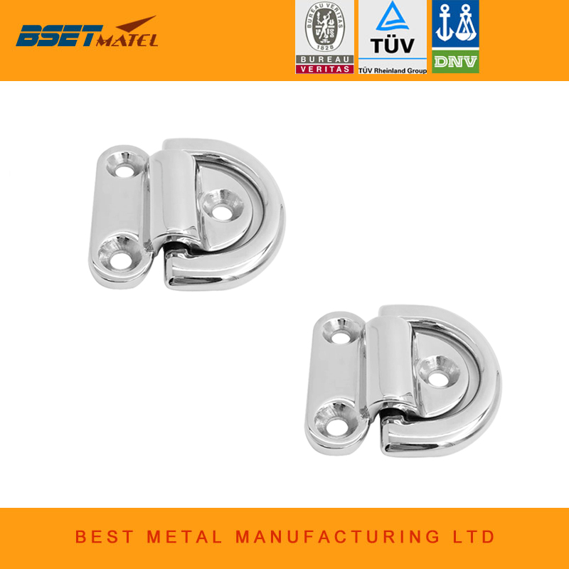 2PCS Mirror Polish Marine Grade 316 Stainless Steel Boat Folding Pad Eye Lashing D Ring Tie Down Cleat for Yacht Motorboat Truck2PCS Mirror Polish Marine Grade 316 Stainless Steel Boat Folding Pad Eye Lashing D Ring Tie Down Cleat for Yacht Motorboat Truck