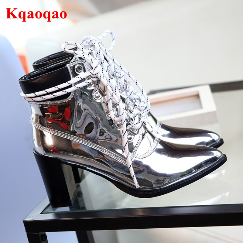 Pointed Toe Metallic Color Cross Tie Women Ankle Boots Lace Up Short Booties Fashion Luxury Brand Block Heel Runway Star Shoes цена 2017
