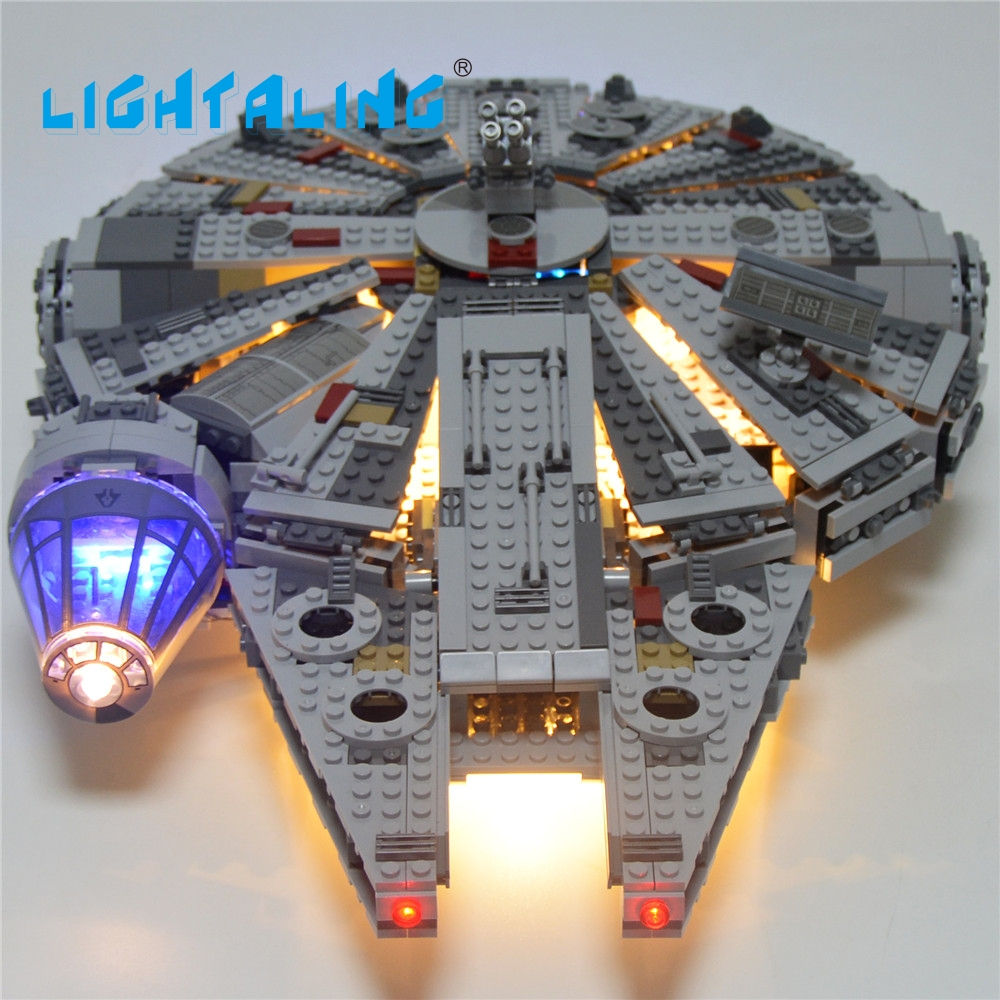 Lightaling LED Light Block Set Toy For Star Wars Millennium Falcon Figure Building Blocks Model 05007 Compatible with 75105  star wars bb8 droid 3d bulbing light toys new 7 color changing visual illusion led decor lamp darth vader millennium falcon toy