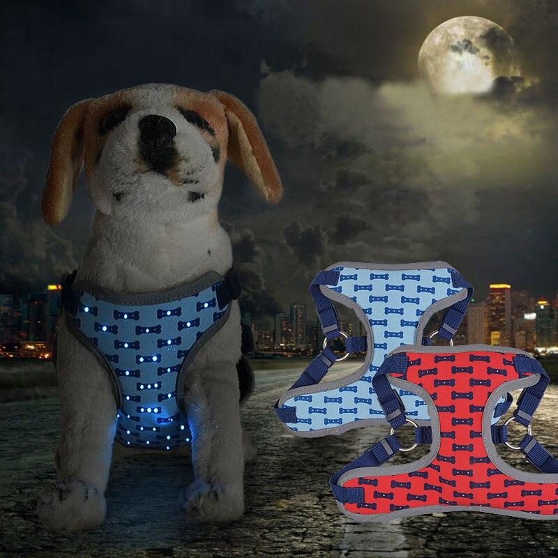 Adjustable Soft LED Luminous Dog Harness Pets Control Breathable Chest Strap Vest TB Sale