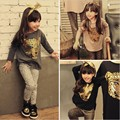 RT-103, 2017 new autumn spring children clothing set girls girl  long sleeve T-shirt + leopard legging 2 pcs. suit kids outfit
