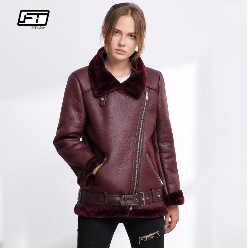Fitaylor Winter Women Faux Lamb   Leather   Jacket Punk Lapel Thickened Padded Warm Pu   Leather   Coats Female Lambs Wool Outerwear New
