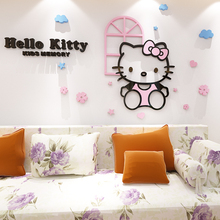 For HELLO KITTY 3d acrylic kt cat crystal three-dimensional wall stickers cartoon child real bedside applique