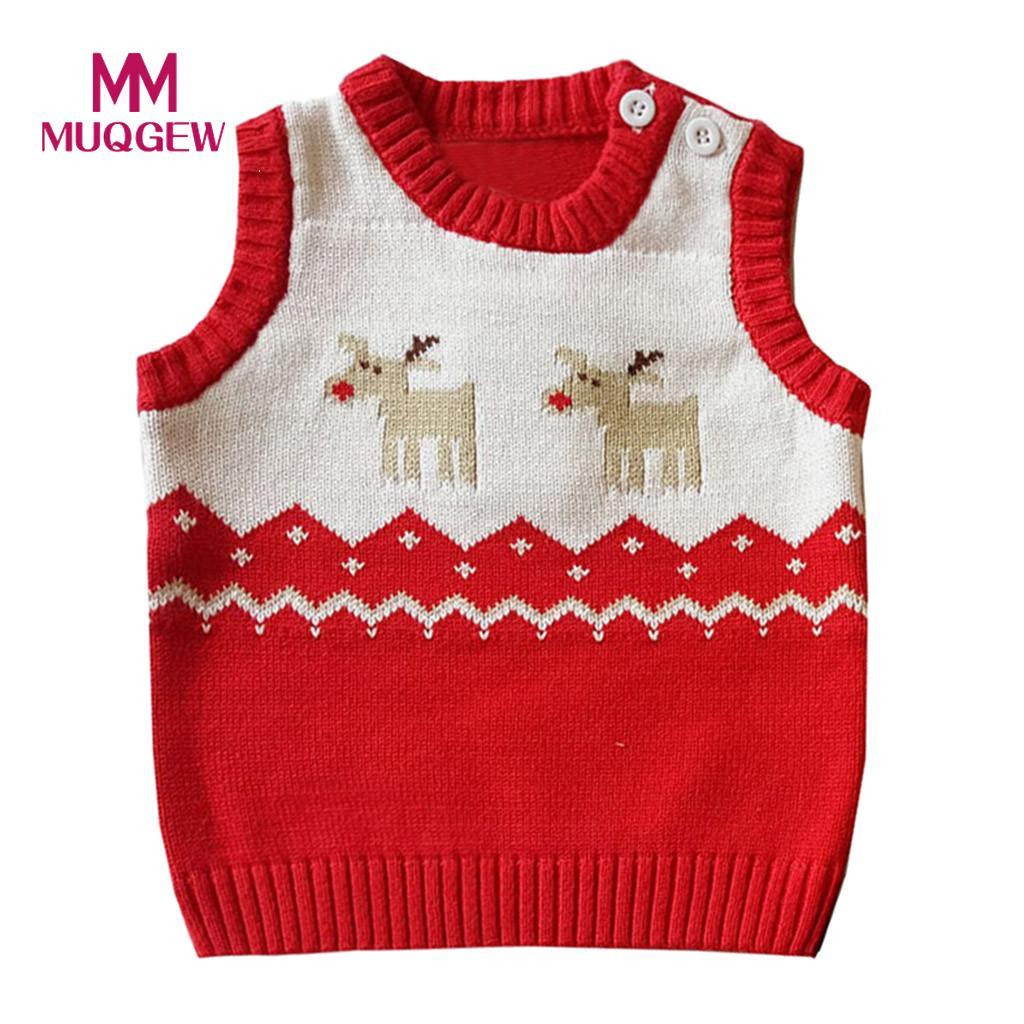 Muqgew 2019 Kleinkind Kinder Mädchen Jungen Winter Weihnachten Deer Pullover Gestrickte Warme Weste Kinder Kleidung # Ss