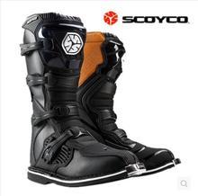Бесплатная доставка Scoyco водонепроницаемый из искусственной кожи мотоциклетные ботинки с высоким голенищем сопротивление скольжению падение Botas гонки загрузки Профессиональный Скорость Сапоги