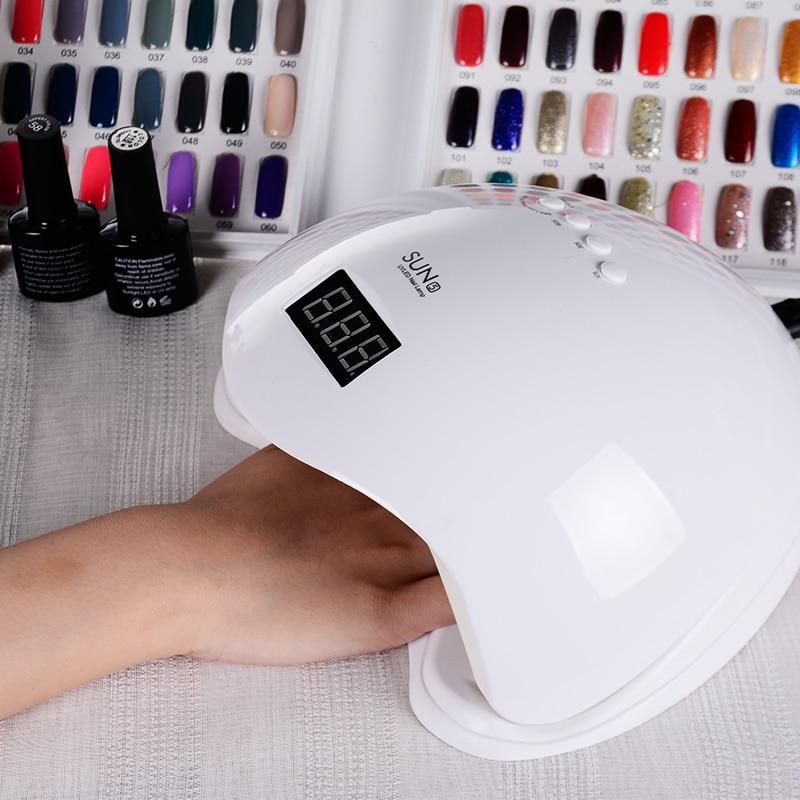 LANGOA SUN5 48W Dual UV LED Nail Lamp Nail Dryer Gel Polish Curing Light with Bottom 10s/30s/60s Timer LCD display