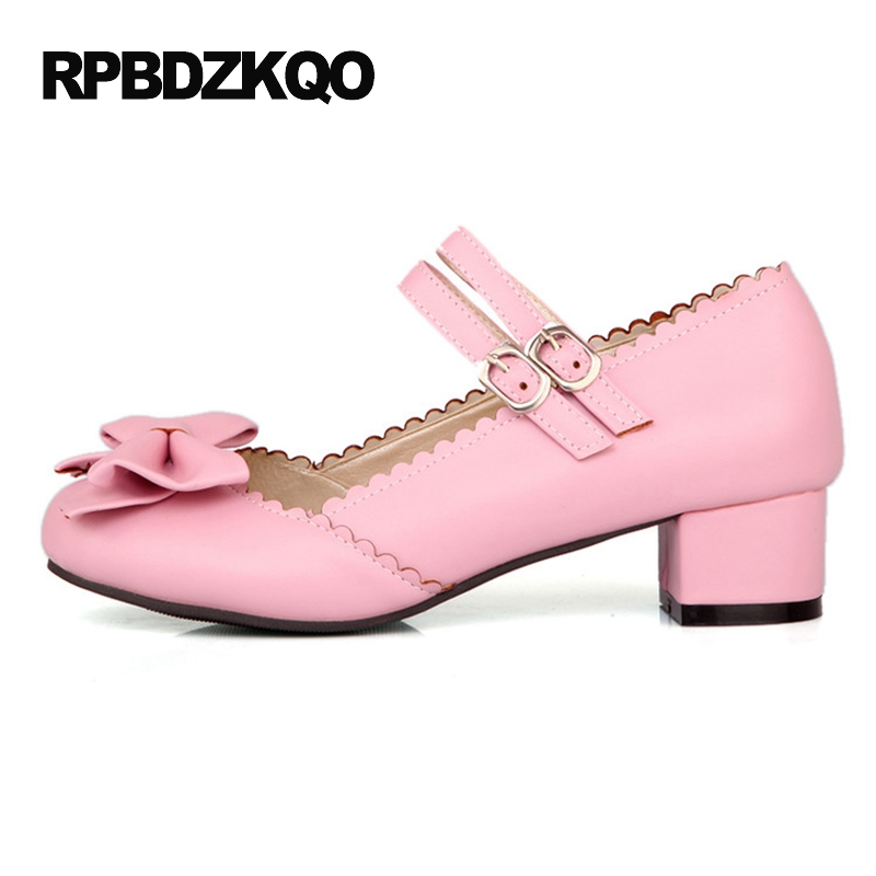 d9ba945cea1 Mary Jane 2017 Ladies Bow Pink Big Size Cute High Heels Strap Chunky Round  Toe 11 43 Sweet Lolita Shoes Low 4 34 Korean Pumps