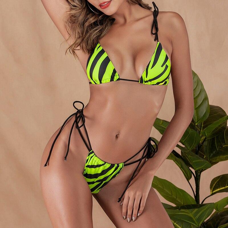 HTB1nK0SdwmH3KVjSZKzq6z2OXXa3 Brazilian bikini thong Micro print bikini Neon swimwear women 2019 bathers Push up 3 piece swimsuit female string bathing suit