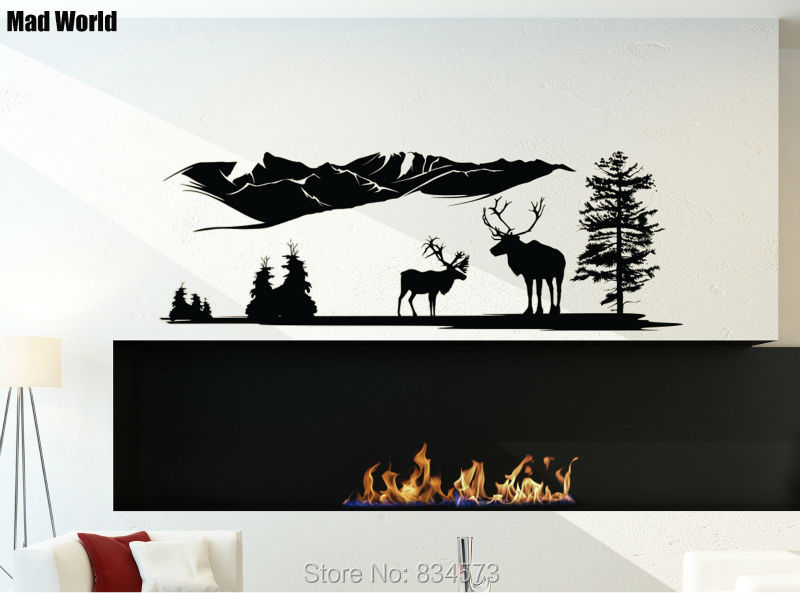 Mad World Deer Country Mountain Forest Animals Wall Art Stickers Wall Decal Home DIY Decoration