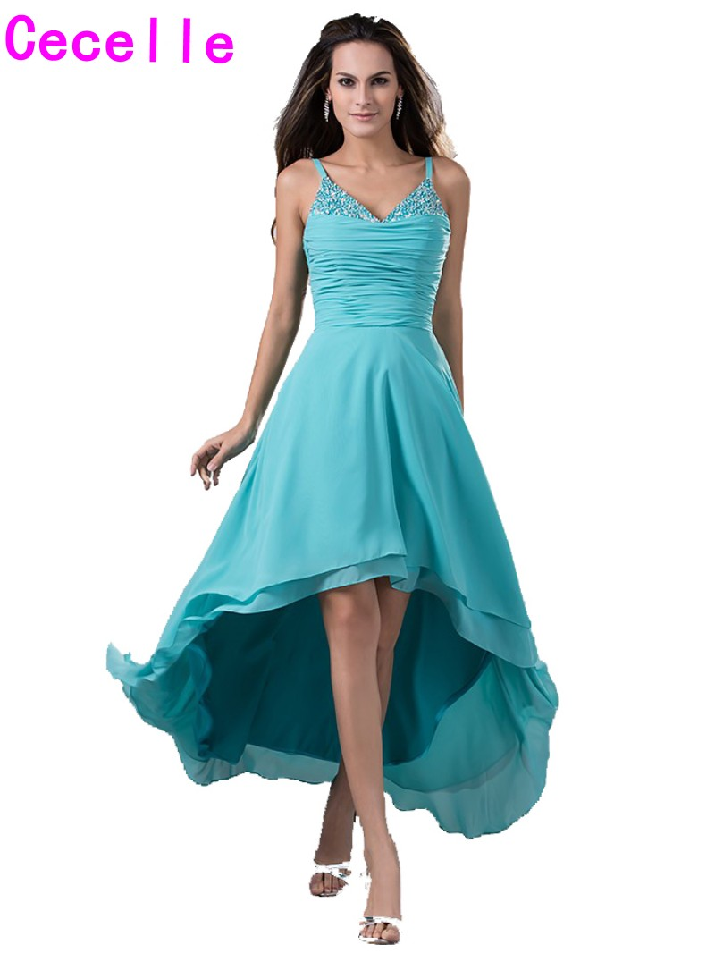 2017 Real High Low Beach Bridesmaid Dresses With Straps Turquoise Short Front Long Back Beaded Beach