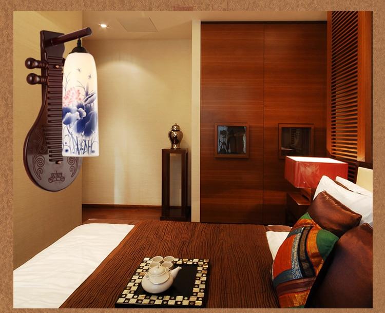 Chinese wall lamp ceramic lamp modern creative living room bedroom study wall lamps retro lighting wall light ZA9150