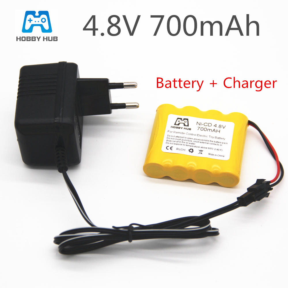 4.8v 700mah rechargeable ni-cd battery with charger for rc toys electric car 4.8v nicd battery pack  RC boat model car toy