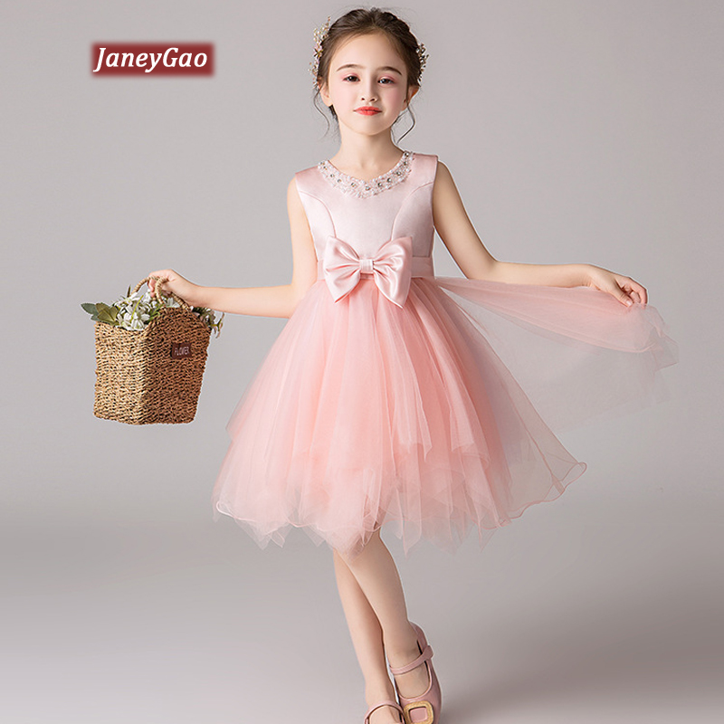 JaneyGao   Flower     Girl     Dresses   For Wedding Party Kids Formal Gown Birthday Party   Dresses   Children Summer Formal   Dresses   Pink White