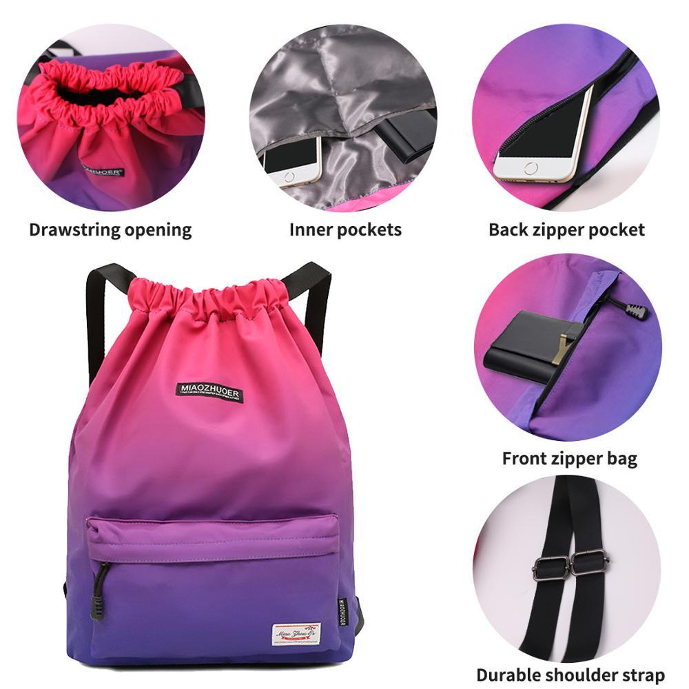 Rainbow Rain 4 Drawstring Backpack Sports Athletic Gym Cinch Sack String Storage Bags for Hiking Travel Beach