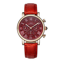 IBSO 2019 Luxury Fashion Watches Womens Red Dial Leather Strap Rose Gold Multifunction Quartz Watches Montre Femme 6813