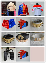 2018 Movie Suicide Squad Harley Quinn Cosplay Costumes Halloween Set Clothes 15 Accessories Top Jacket T-shirt Pants Wristguards