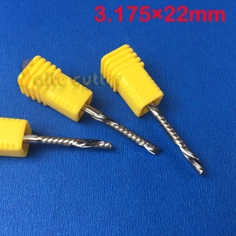 5pcs/set 3.175*22 Tungsten Solide Carbide Single Flute Spiral Bits Left Hand Down Cutting Tools Left  Aluminum Cutting Bits