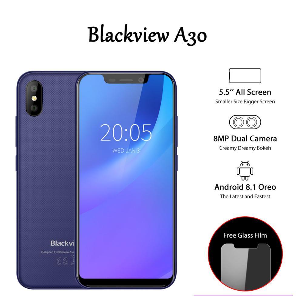 Blackview A30 3G Face ID Telefone Móvel 5.5 polegada Android 8.1 Smartphone Quad Core 19:9 Telemóveis Tela Cheia MTK6580A GB + 16 2GB