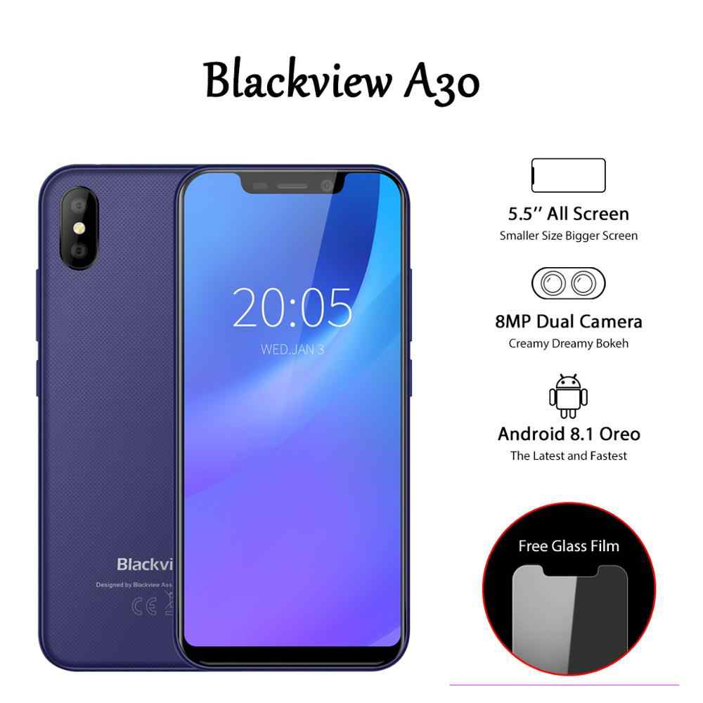 Мобильный телефон Blackview A30 3G Face ID, 5,5 дюймов, Android 8,1, смартфон, четырехъядерный 19:9, полноэкранный мобильный телефон MTK6580A 2 ГБ + 16 Гб