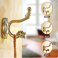 Free Shipping Wholesale And Retail Luxury Brass Bathroom Towel Coat Hat Hangers Dual Peg Dragon Embossed Chrome Golden Rose
