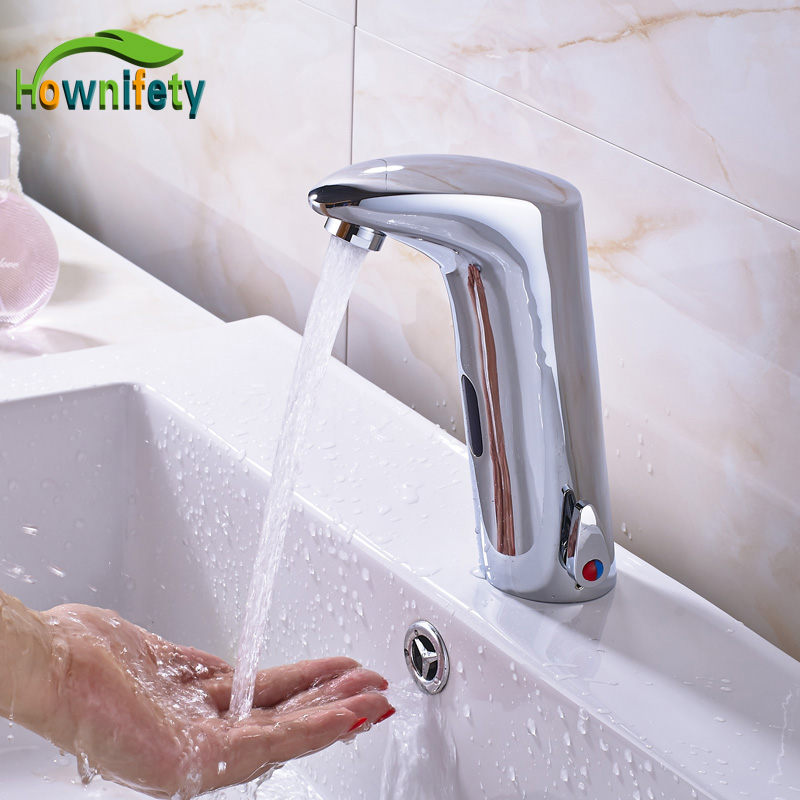 Chrome Solid Brass Bathroom Basin Faucet Automatic Sensor Tap Hot&Cold Faucet Deck Mount bathroom automatic sensor faucet chrome brass bathroom deck mount hands free faucet automatic sensor basin tap single cold water