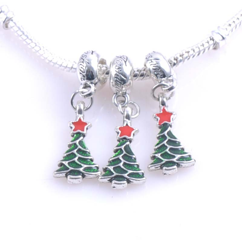 10 pcs 21x11mm Silver christmas trees Spacers Beads charms Fit Pandora Charms Bracelets Jewelry Handmade DIY DK-056