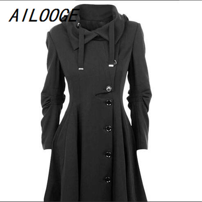 Ailooge 2017 Fashion Long Medieval Trench Coat Women