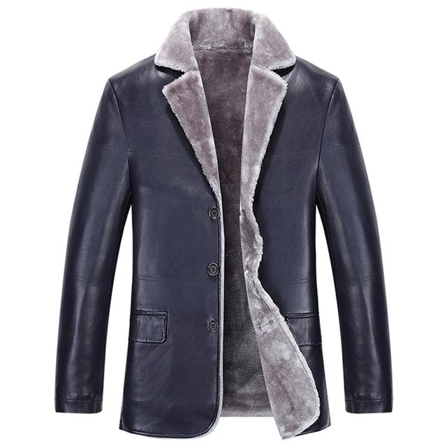2016 nuevo invierno chaqueta hombres de cuello de piel abrigo de piel de Imitación de Cuero de los hombres de cuero casual de negocios chaqueta de abrigo de lana gruesa abrigo