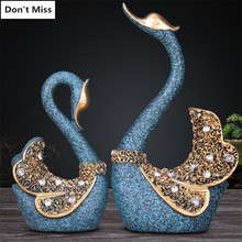 Wedding Gift A Couple of Swan Statue Bedroom Decor Accessories Miniature Figurines Ornaments Garden Sculpture Abstract