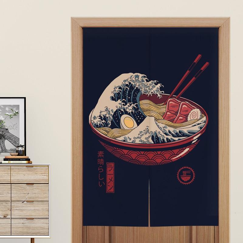 Japanese Door Curtain Partition Curtain Restaurant Decoration Curtain Noren For Noodle Store Kitchen Room Decoration