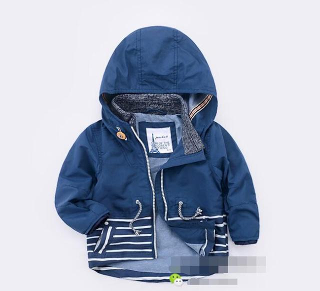 New 2016 Baby Stitching stripes hooded windbreaker Coat Boys child windbreaker coat Kids outerwear wholesale