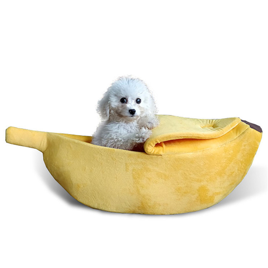 Mini Pet Bed Banana Dog House Cute Banana Puppy Cat Cushion Kennel Breathable Portable Pet Dogs Nest Mat Beds for Cats Kittens in Houses Kennels Pens from Home Garden